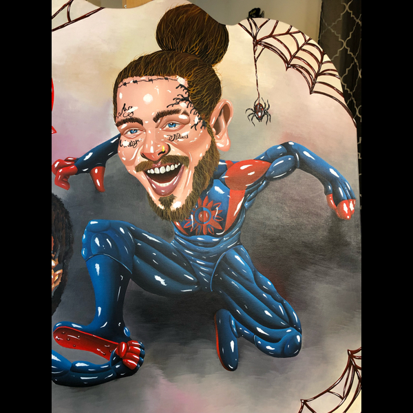"""Painting that i did for Post Malone and Swae Lee for """"Into the spider verse"""" for a biggest fan give away. #viral"""